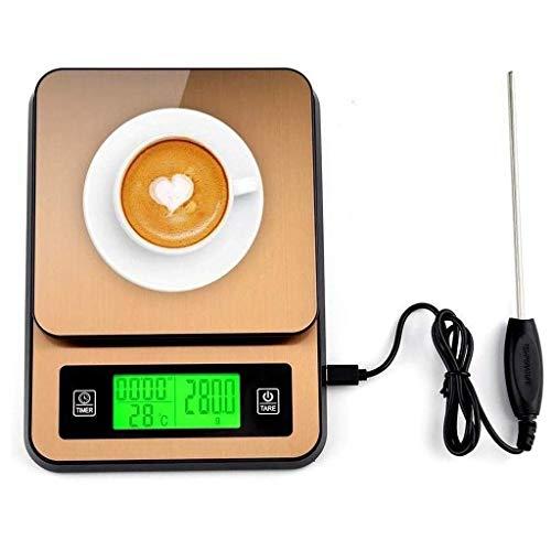 Qinmo Escala electrónica, báscula de pesaje de cocina digital Escalas de alimentos de cocina digital, café de acero inoxidable de café escalas de cocción con sensor de temperatura (Size : 2kg/0.1g)