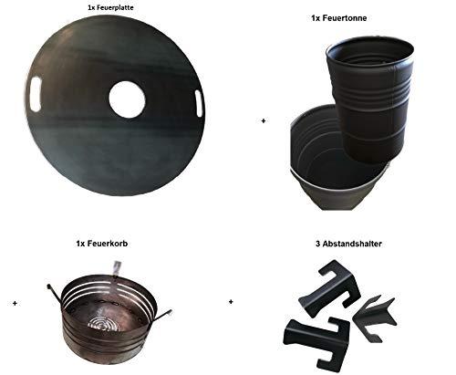 A. Weyck Tools Komplettset Feuertonne Feuerplatte Grilltonne Plancha Feuerkorb Set 80cm
