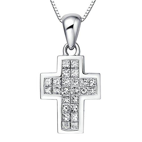 Aooaz Schmuck Damen Halskette Kette 18K Weißgold 24 Diamant Kreuz Silber Anhänger Halskette Kette 45CM