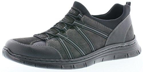 Rieker B4871 Herren Slipper, Mokassins, Halbschuhe, Trekking Schuhe, Memosoft-Decksohle schwarz (schwarz/schwarz/schwarz/Granit/schwarz / 03), EU 41