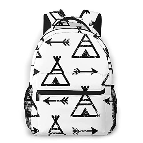 Judascepeda Mochila de ocio múltiple,Tipis y flechas Azteca Indio Repetitivo Nativ, Mochila deportiva de viaje para estudiantes universitarios adultos jóvenes