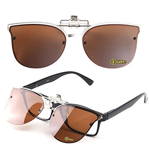 LUFF Occhiali da Sole a Clip polarizzati reversibili, Moda Donna Cat Eye Vintage Outdoor Occhiali da Sole per Occhiali da Vista per Ragazze (Brown)