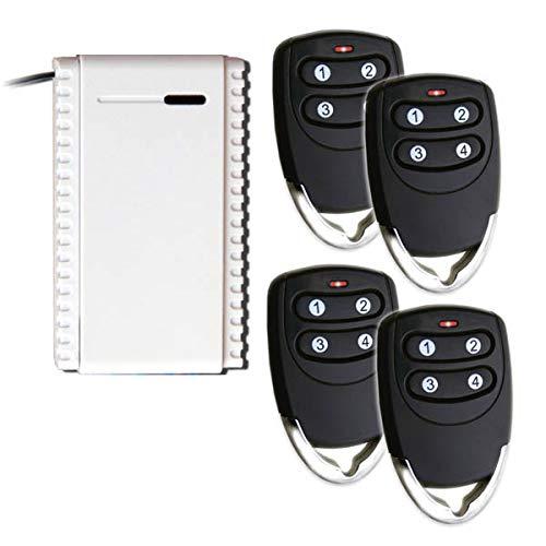 kit Ricevitore + 4 telecomandi rolling code 433,92 Mhz ricevente 1 canale NO-C-NC universale 12-24V + radiocomandi 3 canali