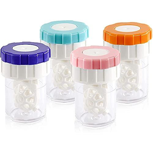 4 Stück Kontaktlinsenbehälter, Kontaktlinsenbehälter Reinigen, Handlinsen-Reinigungslinsengehäuse mit Manueller Drehung, für Zu Hause und Unterwegs, für Den Täglichen Gebrauch (4 Farben)
