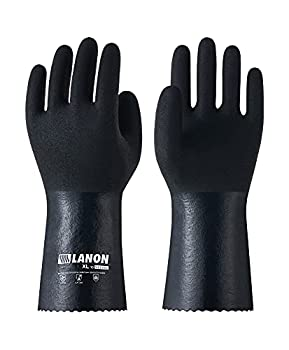 LANON 3 Pairs Nitrile Chemical Resistant Gloves Reusable Heavy Duty Safety Work Gloves with MicroFoam Textured Palm Acid Alkali and Oil Protection Large