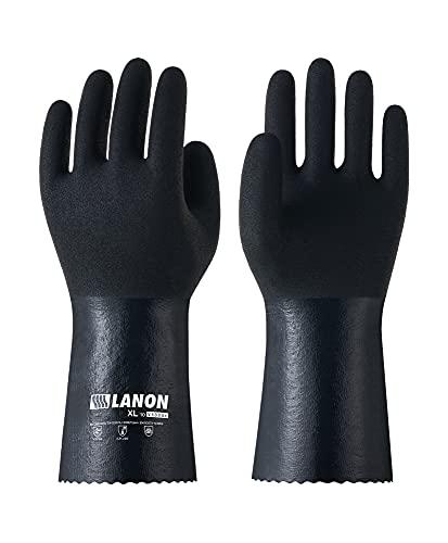 LANON chemikalienbeständige Nitril-Handschuhe, wiederverwendbare schwere Arbeitsschutzhandschuhe mit strukturierter Mikroschaum-Handfläche, Säure-, Laugen- und Ölschutz, gr 11