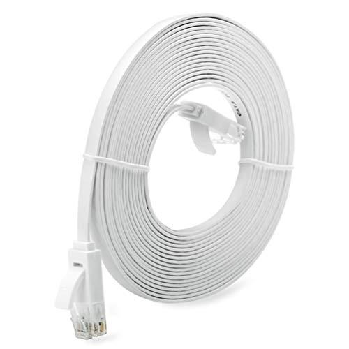 Cable de Red Universal Rj45 súper Largo de 1/3/5/10 M Cable de Red Ethernet de Tipo Plano de súper Alta Velocidad Cable Ethernet LAN (Blanco 10 M)