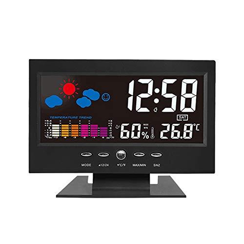 Sveglia con, Aweskmod Sveglia Digitale da Comodino Moda Sveglia, Sveglia Digitale LED con Stazione Tempo/LCD a Display/Temperatura e Data/Funzione Snooze/12&24h