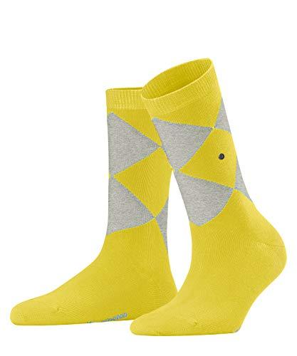 Burlington Damen Organic Argyle Socken, gelb (Sunlight 1141), 36-41