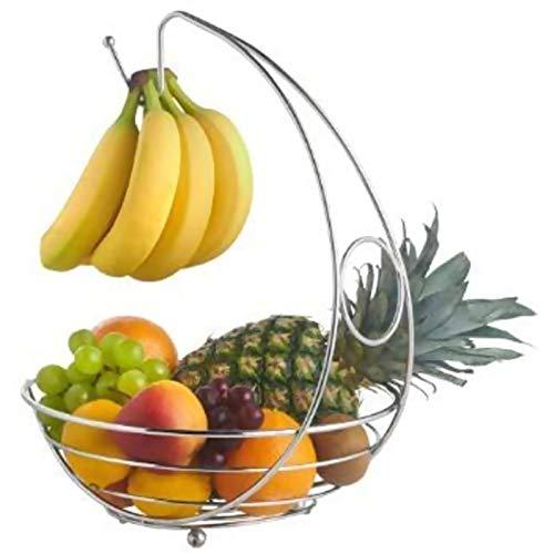 Cesta de Frutas con Soporte para plátanos, Elegante Cocina de Cromo Premium...