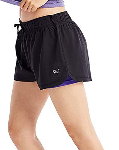 GARVIRP Pantalones Cortos de Correr para Mujer Pantalones Cortos Cortos 2 en 1 Pantalones Cortos de Verano Transpirables Pantalones de Secado rápido púrpura Medium