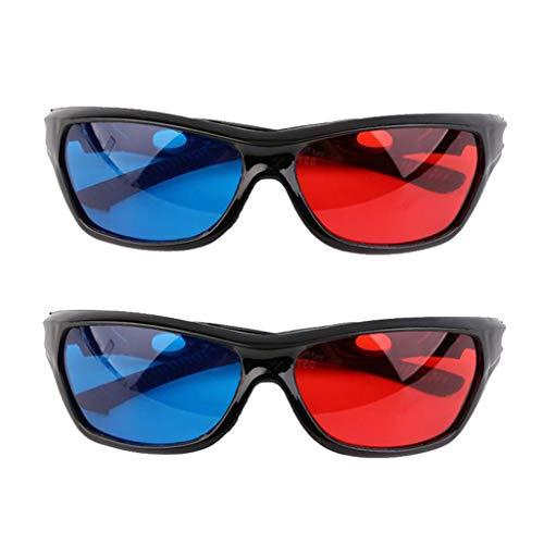 B Blesiya 2x Red Blue 3D Glasses with Black Frame for Dimensional Film Anaglyph 3D Film