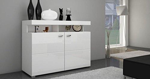 Furniture24 Kommode Paris Sideboard Highboard Weiß Hochglanz 2 Türen (ohne Beleuchtung)