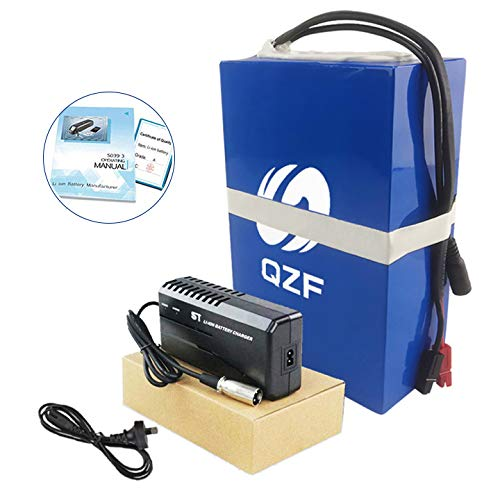 QZF 36V 15AH Ebike Battery Waterproof PVC Lithium Battery Pack with Charger and 20A BMS Protection for 500W 300W 350W 250W Bike Motor Mountain Bike