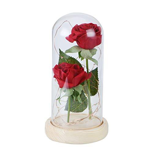 Gowsch - Adornos decorativos de pétalos de rosa rojo con LED luz de cristal cúpula de madera de cristal, cubierta de Navidad, regalo de San Valentín