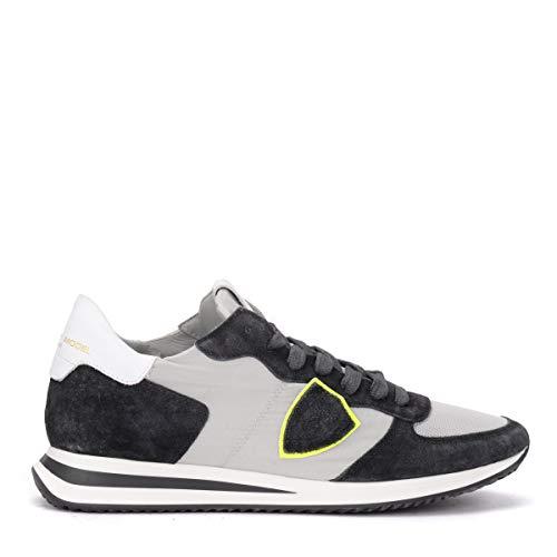 Philippe Model Sneaker Tropez X In Anthrazitfarbenem Wildleder Und Grauem Stoff