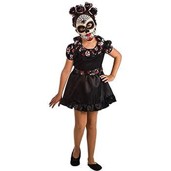 El Rey del Carnaval Disfraz de Catrina Negra para niña: Amazon.es ...