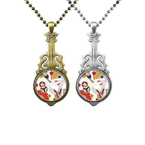 Kranich faltbarer Fächer Sakura Muster Musik Gitarre Anhänger Schmuck Halskette Anhänger Paar