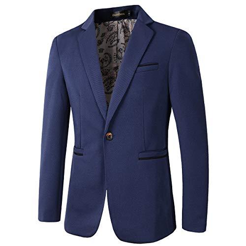 Men's Slim Fit Casual One Button Blazer Jacket (1416 Navy, S)