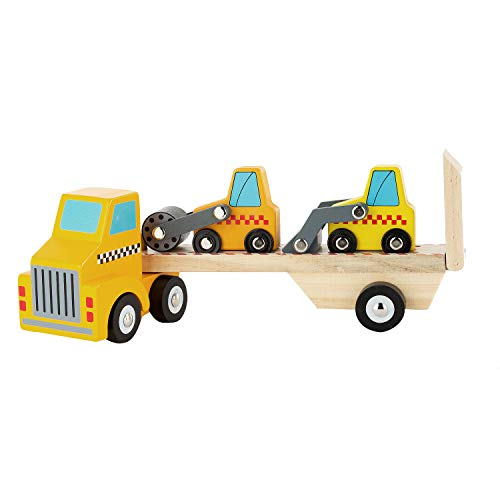 Toy Chest Nyc Wooden Trailer, Mini Front Loader and Steam Roller Wooden Vehicle Set, Construction Vehicles for Kids, 3 Pieces…