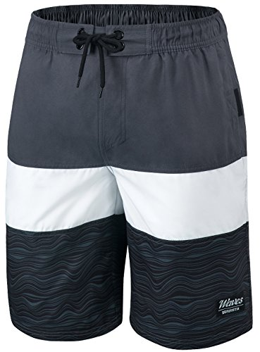 TSLA 11 Zoll Quick Dry Badehose Wasserstrand Board Shorts fur Herren, Msb02 1pack - Dark Grey & White, 3XL
