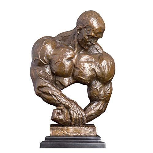 ZAQWSXCDE Statuen Und Skulpturen Skulptur Figur Statuen Dekoration Bronze Sportkunst Dekor Bronze Bodybuilder Muskelmann Statue Skulptur