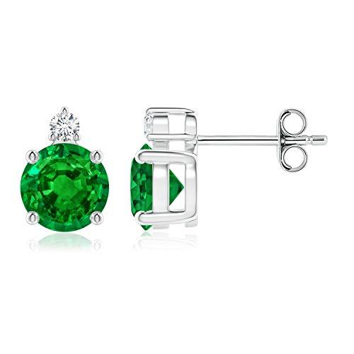 Oferta de Navidad–4ajuste de diente Natural cesta de esmeralda pendientes para las mujeres con diamantes