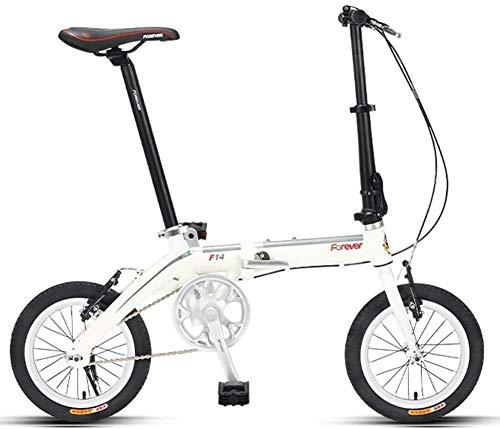 "Aoyo Mini Faltrad, Erwachsene 14\"" Single Speed faltbares Fahrrad, Junior School Students Leichtgewichtler Faltrad, leichte, tragbare, (Color : White)"