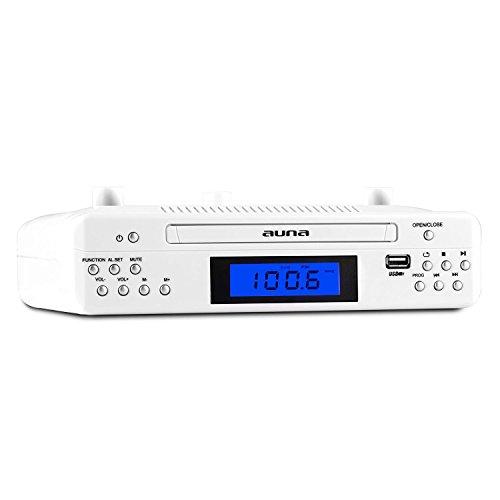 auna KR 150 Unterbau-Küchenradio CD Unterbauradio Küche (Dual-Alarm, MP3-CD, USB, AUX) weiß