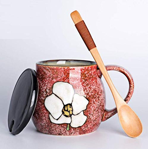 LUISONG FANMENGY Taza de cerámica japonesa taza de cerámica de restauración antigua personalidad creativa con cubierta de cuchara, tazas de café de gran capacidad para el hogar