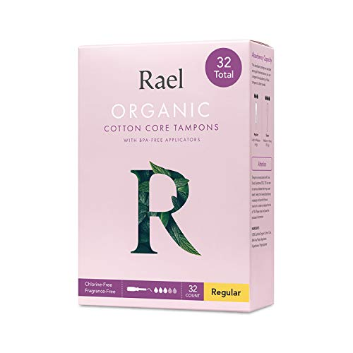Rael Organic Cotton Unscented Tampons  Regular Absorbency BPA Free Plastic Applicator Chlorine Free Ultra Thin Applicator with Leak Locker Technology 32 Count Regular