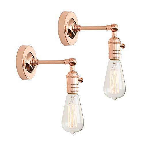 Phansthy 2 Stücke Wandbeleuchtung Wandleuchten Vintage Industrie Loft-Wandlampen Antik Deko Design Wandbeleuchtung Küchenwandleuchte (Kupfer Farbe)