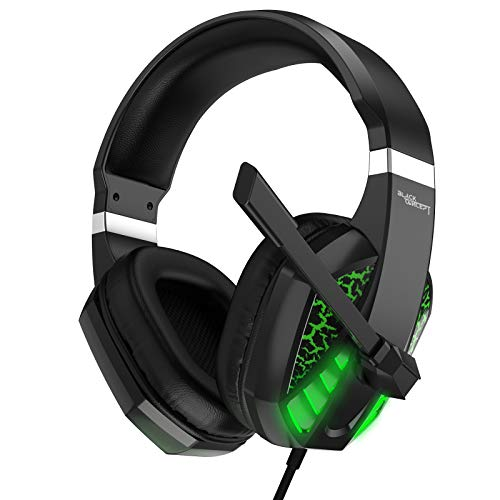 Gaming Headset for Xbox one,PC,PS4,PS5,Laptop,Mac,iPad,Switch Games, Video Game Headset with Microphone LED Lights Noise Canceling Bass Surround Soft Memory Earmuffs for Game Competition-Green