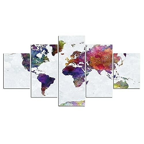 WWNMJ Quadro Moderno 5 pezzi Quadri Stampa pannello pittura, 5 pannelli stampe su Tela Mappa del Mondo Pianeta Paesi per soggiorno o da letto Decorazioni per la casa 150X80Cm