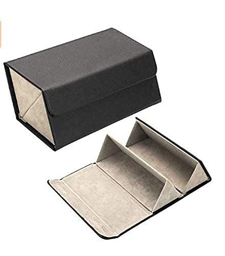 Estuche de almacenamiento de cuero para múltiples gafas, caja de almacenamiento plegable para gafas de sol con 2/3/4/5/6 ranuras..