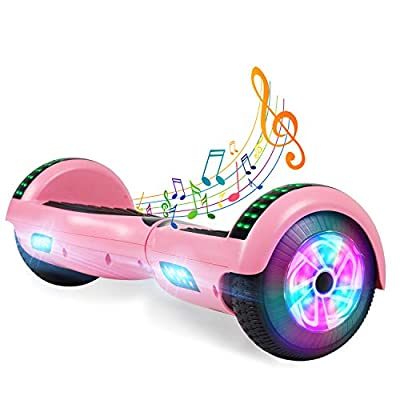 "YHR 6.5"" Hoverboard -Self Balancing Scooter 2 Wheel Electric Scooter - UL Certified 2272 Bluetooth W/Speaker, LED Wheels and LED Lights (Pink)"