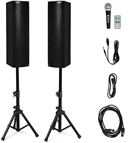Costzon Active 3-Way 6.5'' 200W All-in-one PA Speaker DJ Loud Speaker with Bluetooth, USB/SD Card Input, MP3 FM Radio, Wireless Remote Control for Indoor Outdoor Party Wedding