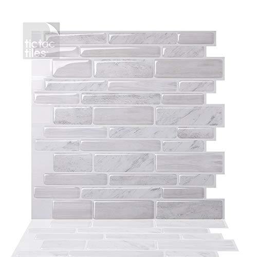 Tic Tac Tiles Pelar anti baldosas del molde y la toma mural pared posterior En Polito Blanca 5 10' x 10' Blanco; Perla blanca; Crema beige de mármol