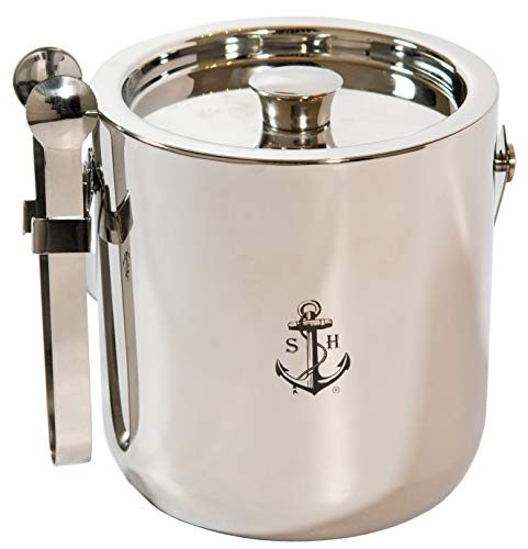 Stock Harbor Ice Bucket Insulated With Sealed Lid and Tongs, Thermal Double Wall, Large 3 Liter Stainless Steel with Modern Tongs Storage for Parties