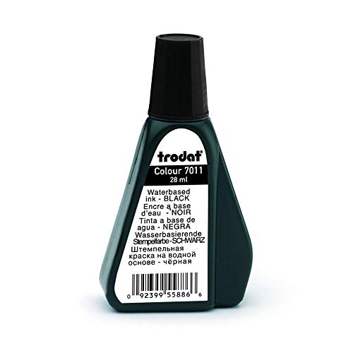 Trodat 7011 - Tinta para sellos, 28 ml, color negro
