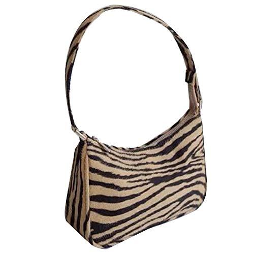 Sonline Borse un Strisce Zebra Borsa un Tracolla Vintage un Righe Borsa Ascellare Femminile Borse nel Velluto Marrone-Giallo + Nero