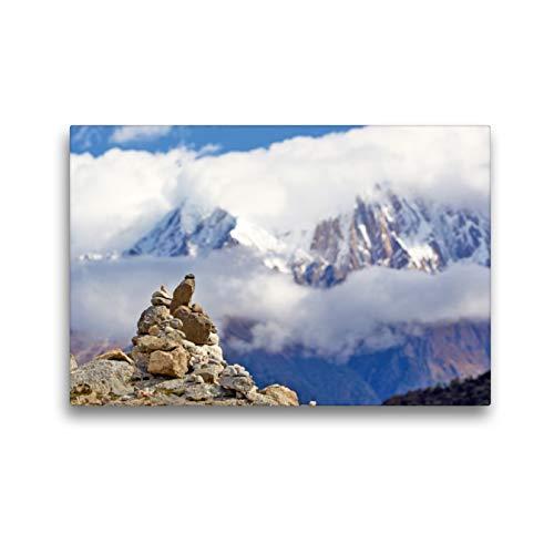 Calvendo Premium Lienzo 45 cm x 30 cm horizontal, de mineros, construidos por hombres de piedra se consideran como señal en terrenos irregulares, imagen en Himalaya, Tibet, lugares de China