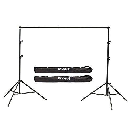 Phot-R 3x2m Teleskop Hintergrundsystem, 2X 3m Luftfederung Ständer & 3m Teleskop-Querstab Fotografie Set + Kofferset für Papier-Muslin-Baumwolle Vinyl-Vliesstoff Leinwandhintergründe