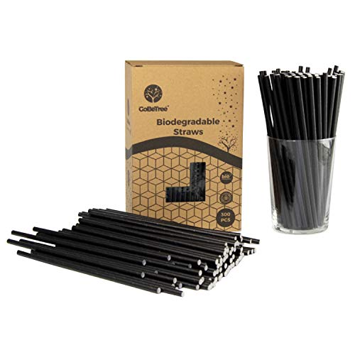 GoBeTree - 300 cannucce di carta biodegradabili, colore nero, cannuccia usa e getta ecologiche compostabili. Cannucce per feste, compleanni e celebrazioni. Bevande fredde e calde.