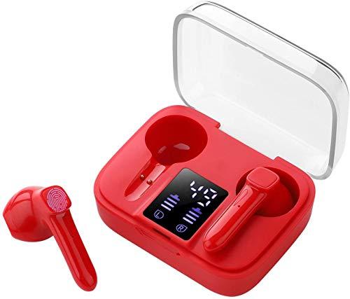 Auriculares Inalámbricos Bluetooth 5.0, Mini Auriculares Bluetooth Sin Cable Sport Cascos con Estuche de Carga de micrófono Sonido Estéreo LED Pantalla/para iPhone Android TV Tablets-Rojo