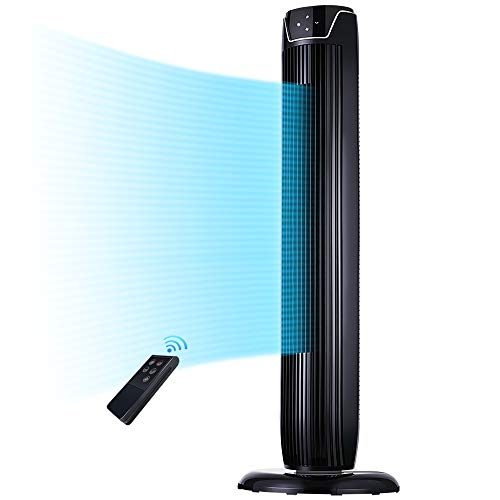 Tower Fan, Oscillating Quiet Cooling Fan Tower with LED Display, Timer and Remote, Built-in 3 Modes and Speed Settings, Portable Stand Floor Fans Safe...