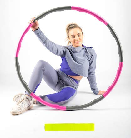 Weighted Hula Hoop For Adults, Children, Kids For Fitness Wave 1kg (2.2lbs), Loose Weight Fast With Folding Gym Rings, Smart PowerHoop Hoola Hoop, Free Light Exercise Band (4 Knots Pink + Grey)