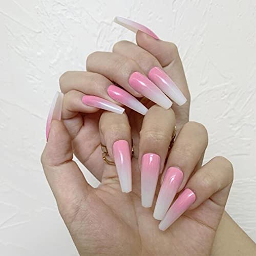 Yheakne Extra Long Coffin Ombre Press on Nails Glossy Ballerina Fake Nails French Gradient Clip on Nails Pink White Ombre Press Nails Art Full Cover Acrylic Nails Artificial False Nails Tips for Women and Girls 24Pcs (Style A)