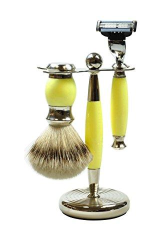 Golddachs Rasierset mit Rasierpinsel (100 Prozent Silberzupf) und Rasierer (Mach3-Klingensystem), gelb/silber, 1er Pack (1 x 2 Stück)