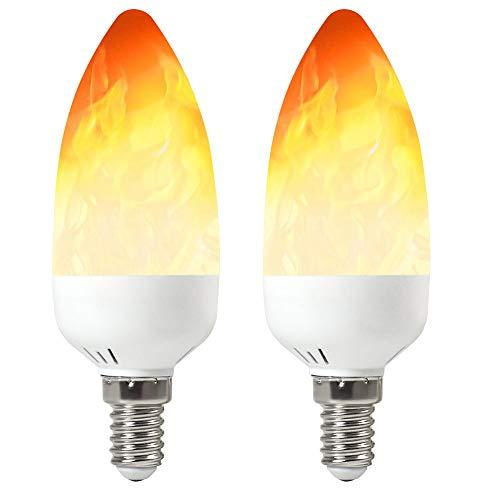 MENGS 2-er Pack E14 Flamme Glühbirne 2W LED Flamme Lampe 3 Beleuchtungsmodi für Weihnachten, Zuhause, Hotel, Bar, Festdekorationen